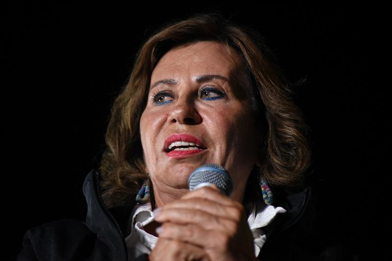 Opinion polls make former First Lady Sandra Torres the favorite in Guatemala's upcoming presidential vote (AFP Photo/Orlando  ESTRADA)