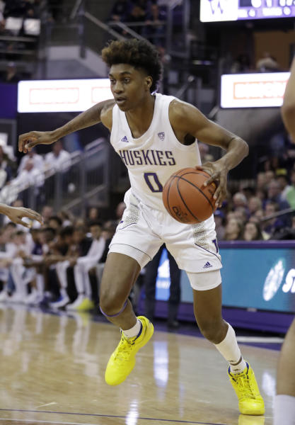 Washington's Jaden McDaniels drives against Washington State during the first half of an NCAA college basketball game Friday, Feb. 28, 2020, in Seattle. (AP Photo/Elaine Thompson)
