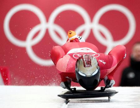 Skeleton – Pyeongchang 2018 Winter Olympics – Men's Competition – Olympic Sliding Centre - Pyeongchang, South Korea – February 15, 2018 - Yun Sung-bin of South Korea in action during the heat. REUTERS/Edgar Su