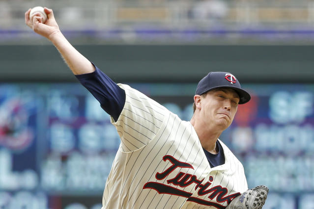 Minnesota Twins starting pitcher Kyle Gibson throws to the Detroit Tigers in the first inning of a baseball game Wednesday, May 23, 2018, in Minneapolis. (AP Photo/Bruce Kluckhohn)
