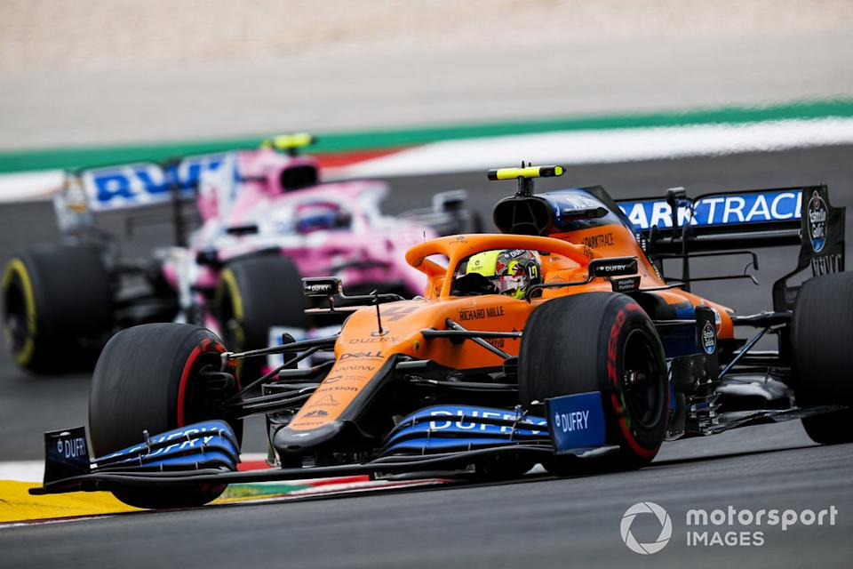 "Lando Norris, McLaren MCL35, Lance Stroll, Racing Point RP20<span class=""copyright"">Sam Bloxham / Motorsport Images</span>"