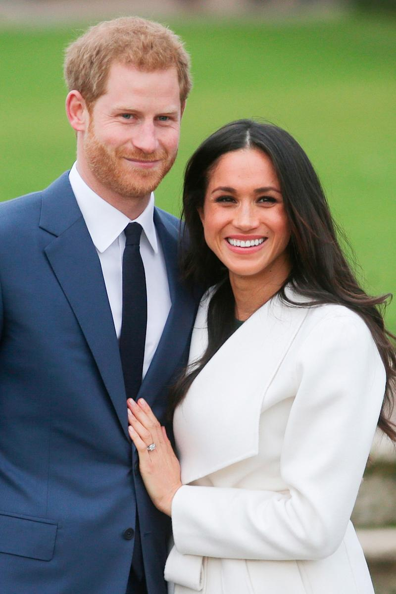 """Prince Harry designed Meghan Markle's engagement stunner, a three-stone diamond ring, himself. The center gem comes from Botswana, a country near and dear to the couple's heart: """"We were really by ourselves, which was crucial to me to make sure we had a chance to get to know each other,"""" Harry said of the couple's time in the country. The two smaller stones belonged to Harry's mother, Princess Diana. He included them as a way """"to make sure she is with us on this crazy journey together."""""""