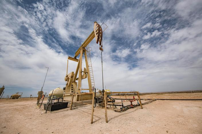 A oil rig operation is pictured near the future site of the Holtec nuclear waste facility on Monday, April 12, 2021 in Lea County, New Mexico.