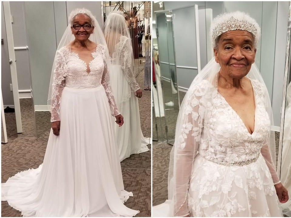 According to her granddaughter, this was Martha Mae Ophelia Moon Tucker's first time trying on a wedding dress at a bridal store.