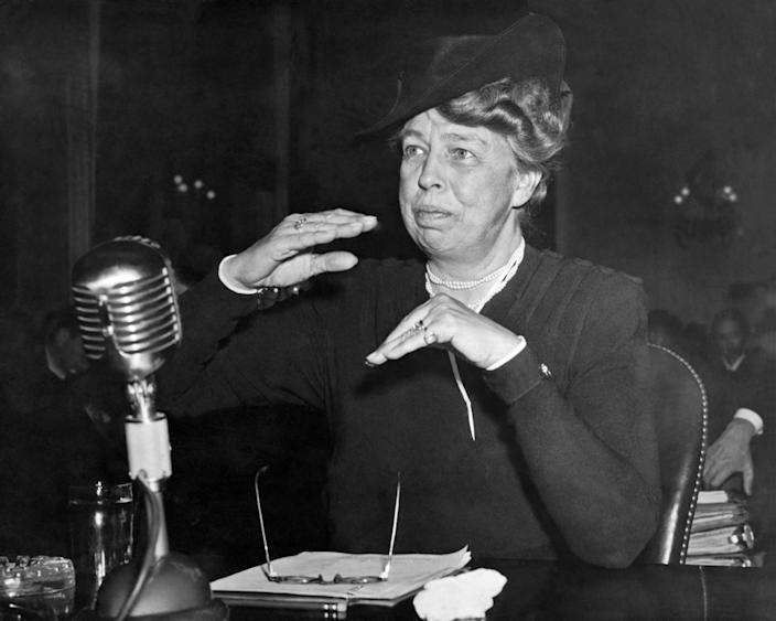 Eleanor Roosevelt, the assistant director of the Office of Civilian Defense, at a committee meeting. (Photo: Underwood Archives/Getty Images)