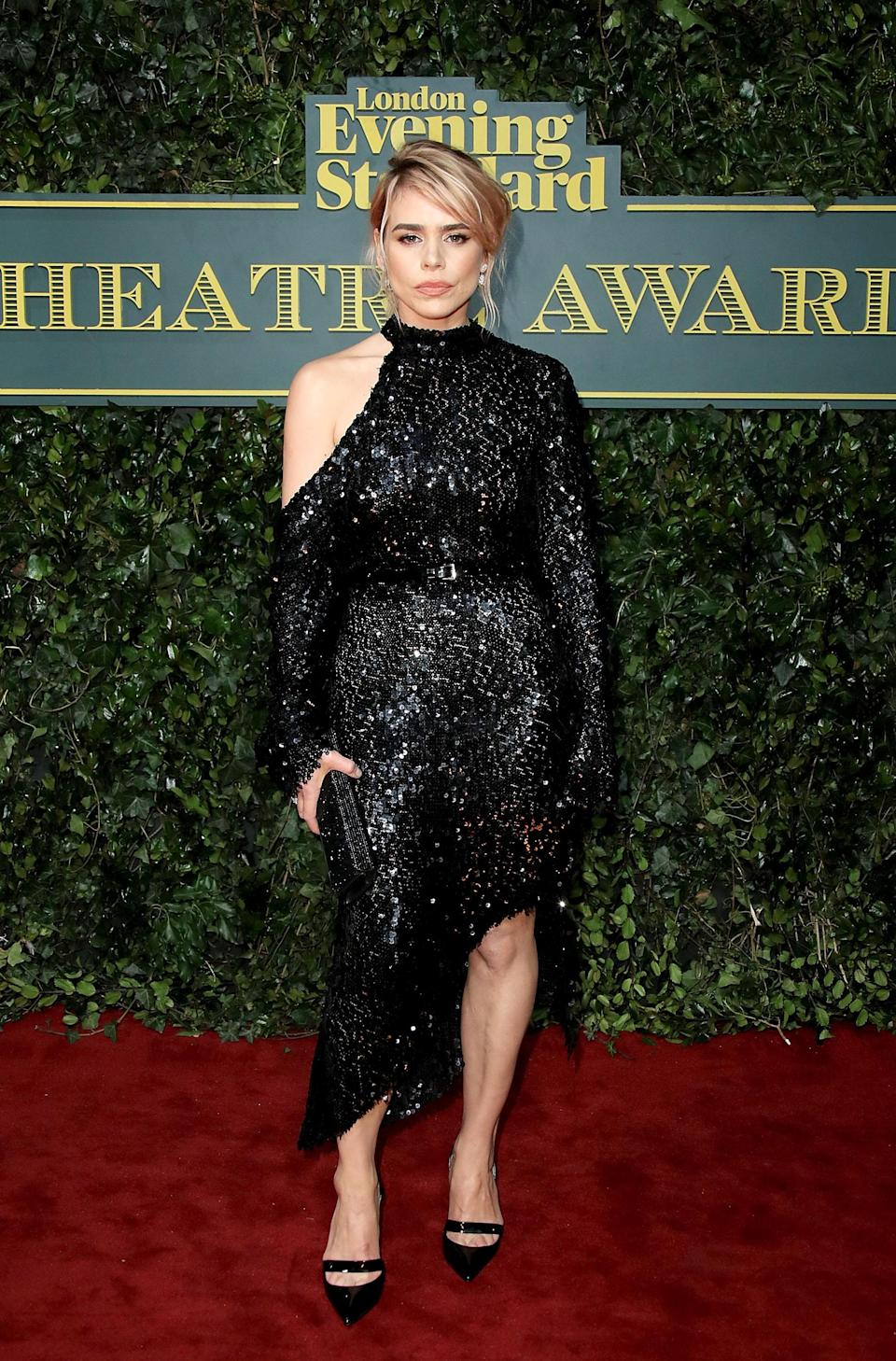 <p>The winner of the 2016 Best Actress award showed up in an asymmetric black sequinned dress. <i>[Photo: Getty]</i> </p>