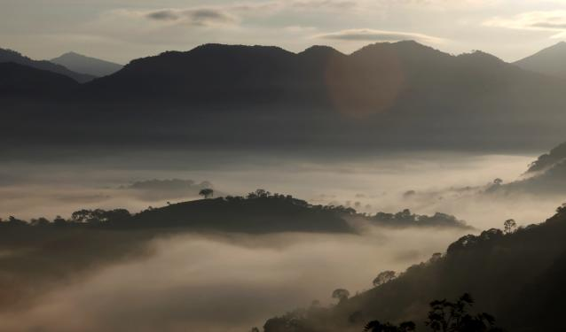 Fog sourrounds the mountains in Goncalves, in the state of Minas Gerais in southwestern Brazil, April 18, 2014. REUTERS/Paulo Whitaker (BRAZIL - Tags: ENVIRONMENT)