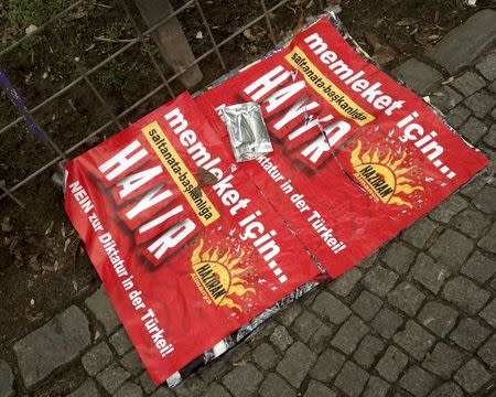 "A ""Hayir"" campaign poster against the referendum in Turkey on the pavement in Berlin"