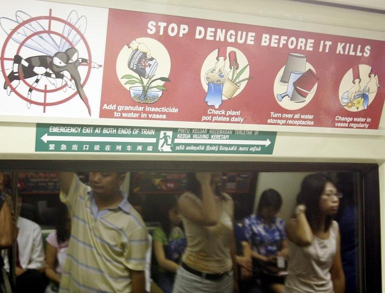 An anti-dengue ad is displayed on a MRT train in Singapore, on September 10, 2005