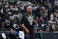Rapper Biz Markie performs during Game Two of the Eastern Conference Semifinals of the 2019 NBA Playoffs between the Milwaukee Bucks and Boston Celtics on April 30, 2019 at the Fiserv Forum Center in Milwaukee, Wisconsin. (Photo by Gary Dineen/NBAE via Getty Images).