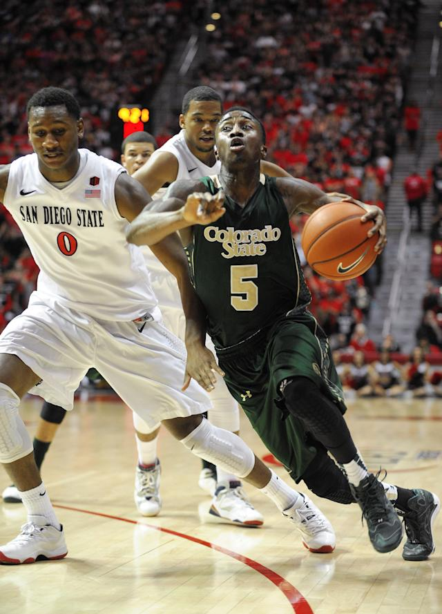 Colorado State's John Octeus (5) drives past San Diego State's Skylar Spencer (0) during the first half of an NCAA college basketball game on Saturday, Feb. 1, 2014, in San Diego. (AP Photo/Denis Poroy)