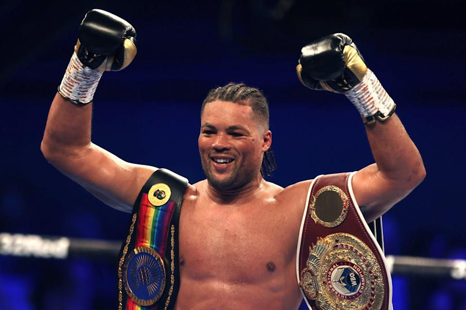 Joe Joyce stopped Carlos Takam in the sixth round of their heavyweight contest in London (PA)