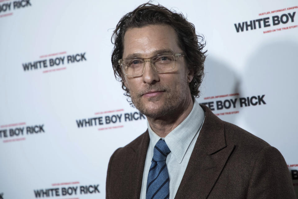 Actor Matthew McConaughey poses for photographers upon arrival at the premiere of the film 'White Boy Rick', in London, Tuesday, Nov. 27, 2018. (Photo by Vianney Le Caer/Invision/AP)