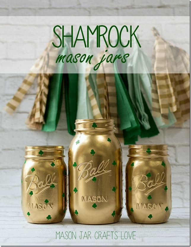 """<p>This craft will be a hit with adults and kids alike. Using spray paint and green paint, you'll turn a standard <a href=""""https://www.womansday.com/food-recipes/food-drinks/recipes/a51533/peanut-butter-banana-strawberry-jars/"""" rel=""""nofollow noopener"""" target=""""_blank"""" data-ylk=""""slk:mason jar"""" class=""""link rapid-noclick-resp"""">mason jar</a> into a decorative piece. </p><p><em>Get the tutorial at <a href=""""http://masonjarcraftslove.com/shamrock-mason-jars-2/"""" rel=""""nofollow noopener"""" target=""""_blank"""" data-ylk=""""slk:Mason Jar Crafts"""" class=""""link rapid-noclick-resp"""">Mason Jar Crafts</a>.</em></p>"""