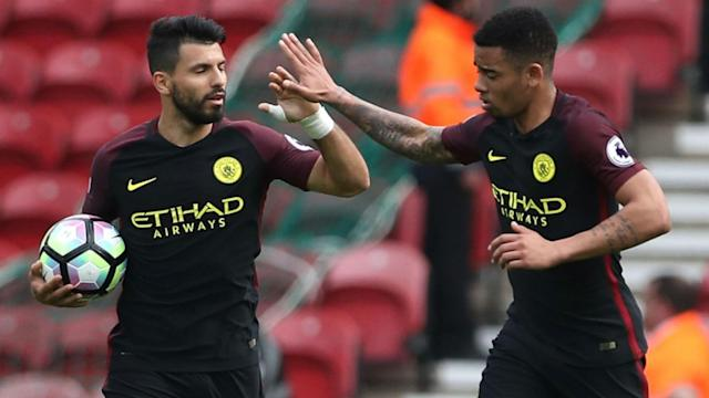 Pep Guardiola would have liked to pair Sergio Aguero and Gabriel Jesus together again against Crystal Palace but for the Argentine's injury.