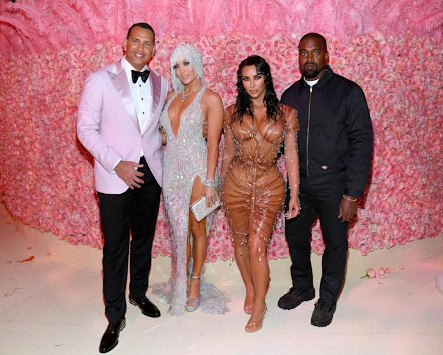 Alex Rodriguez, Jennifer Lopez, Kim Kardashian West, and Kanye West attend The 2019 Met Gala Celebrating Camp: Notes on Fashion at Metropolitan Museum of Art on May 06, 2019 in New York City. (Photo by Kevin Mazur/MG19/Getty Images for The Met Museum/Vogue)