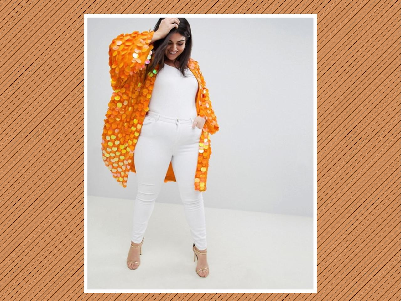 "<p>ASOS Design Curve Bright Sequin Kimono, $119, <a rel=""nofollow"" href=""http://us.asos.com/asos-curve/asos-design-curve-bright-sequin-kimono/prd/9120837?clr=orange&SearchQuery=&cid=9578&gridcolumn=1&gridrow=3&gridsize=4&pge=1&pgesize=72&totalstyles=12"">ASOS</a> (Photo: ASOS) </p>"