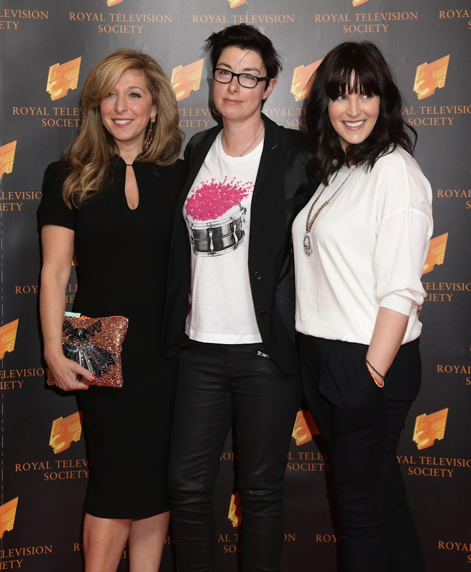 Tracy-Ann Oberman, Sue Perkins and Anna Richardson attending the Royal Television Society Programme Awards at the Grosvenor House Hotel, London.   (Photo by Yui Mok/PA Images via Getty Images)