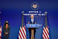 US President-elect Joe Biden (pictured November 9, 2020) and top Democrats have warned that Boris Johnson can effectively forget about a UK-US trade deal if Brexit scuppers the hard-won peace brokered by the United States