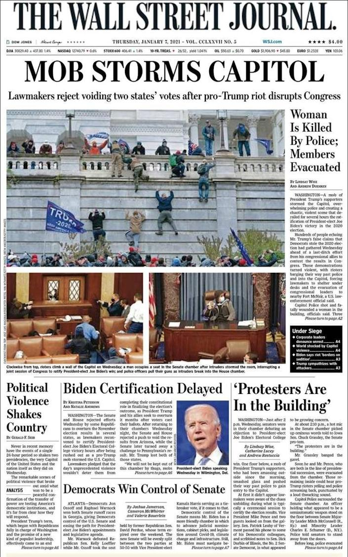 The Wall Street Journal went with the simple headline 'Mob Storms Capitol' - -/-