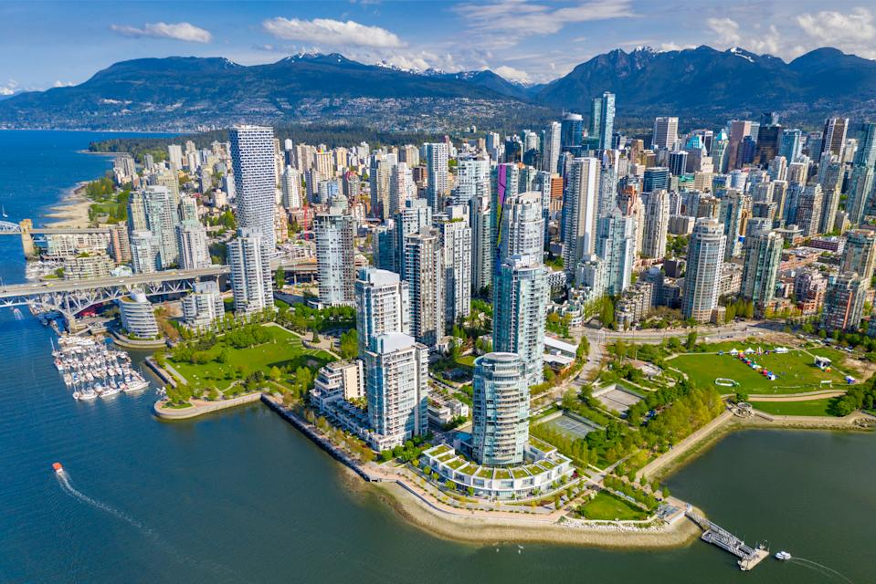 Aerial view of downtown Vancouver city skyline, in Vancouver, British Columbia, Canada.