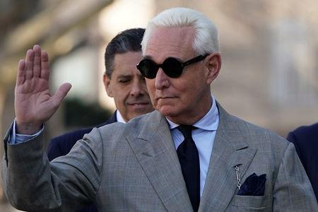 Roger Stone, longtime political ally of U.S. President Donald Trump, waves as he arrives for a status hearing in the criminal case against him brought by Special Counsel Robert Mueller at U.S. District Court in Washington, U.S., March 14, 2019. REUTERS/Joshua Roberts