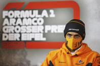 Mclaren driver Carlos Sainz of Spain during a press conference prior the Eifel Formula One Grand Prix at the Nuerburgring racetrack in Nuerburg, Germany, Thursday, Oct. 8, 2020. (xpbimages.com/Pool via AP)