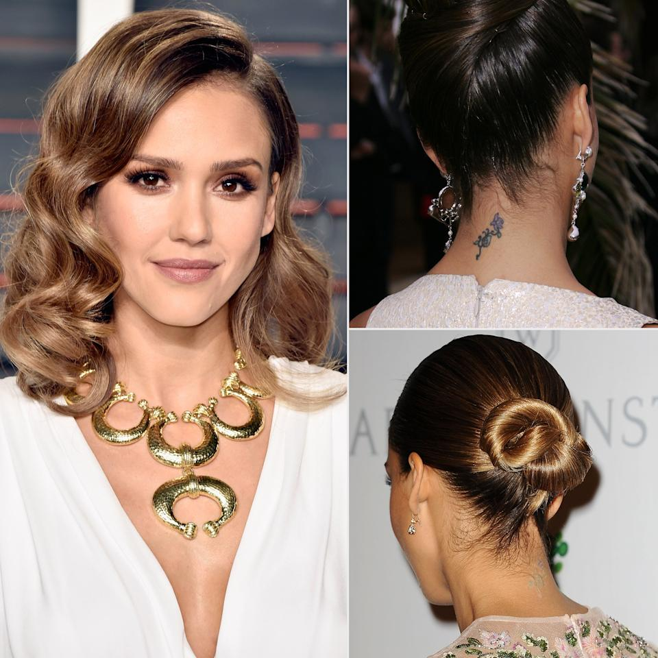 """<b>The Tattoo:</b> The actress has multiple tattoos but says she regrets """"maybe two,"""" <a href=""""https://www.refinery29.com/en-us/2019/07/238117/jessica-alba-honest-beauty-lipstick-tattoos-interview"""">she tells Refinery 29</a>: one that's """"kind of a tramp stamp"""" of a bow on her lower back (not pictured) and an image of flowers on her neck that """"I got when I was, like, 17 and I'm so irritated that I got it.""""  <b>The Status:</b> Still there, despite her best efforts (you can see it faintly in the lower right image). """"I got it lasered many times and it's not coming out,"""" she says."""