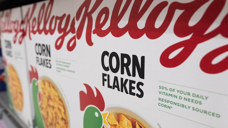 LONDON, JULY 2020: Kelloggs Corn Flakes cereal for sale on supermarket shelf. An American cereal brand