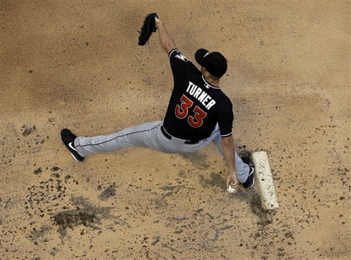 Miami Marlins starting pitcher Jacob Turner throws during the first inning of a baseball game against the Milwaukee Brewers, Friday, July 19, 2013, in Milwaukee. (AP Photo/Morry Gash)