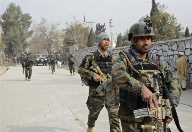 <p>Afghan security forces patrol the site of a deadly suicide attack in Jalalabad, east of Kabul, Afghanistan, Wednesday, Jan. 24, 2018. (Photo: AP) </p>