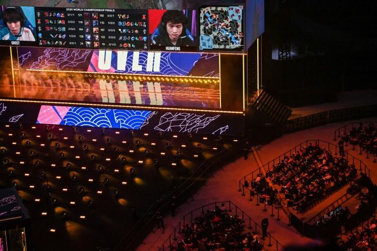 Thousands watch the League of Legends World Video Game Championships final at SAIC Pudong Football Stadium in Shanghai in October