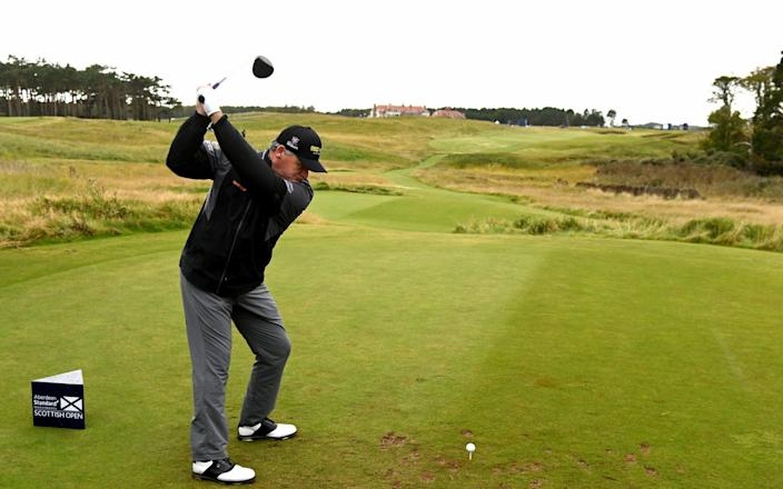 Paul Lawrie of Scotland tees off during a practice round prior to the Aberdeen Standard Investments Scottish Open at The Renaissance Club on September 30, 2020 in North Berwick, Scotland - Getty Images/Ross Kinnaird
