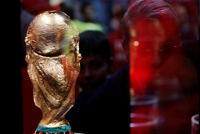 The FIFA world cup trophy is displayed during the Fifa World Cup Trophy Tour, in Amman, Jordan February 20, 2018. REUTERS/Muhammad Hamed