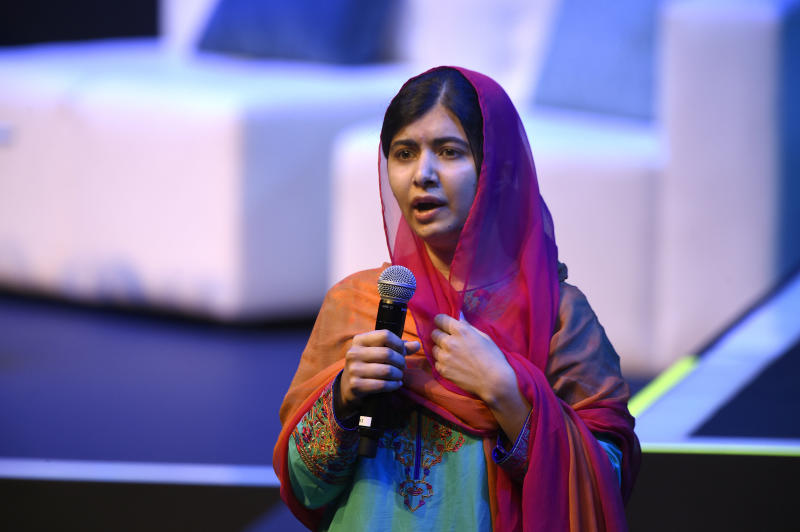 Nobel Peace Prize laureate Malala Yousafzai speaks in Mexico City on Sept. 1, 2017. (ALFREDO ESTRELLA/Getty Images)