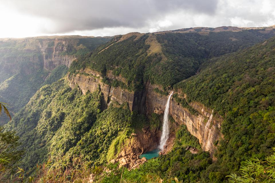 The Nohkalikai waterfalls in the lush green forested hills in the Khasi hills in Meghalaya in Northeast India.