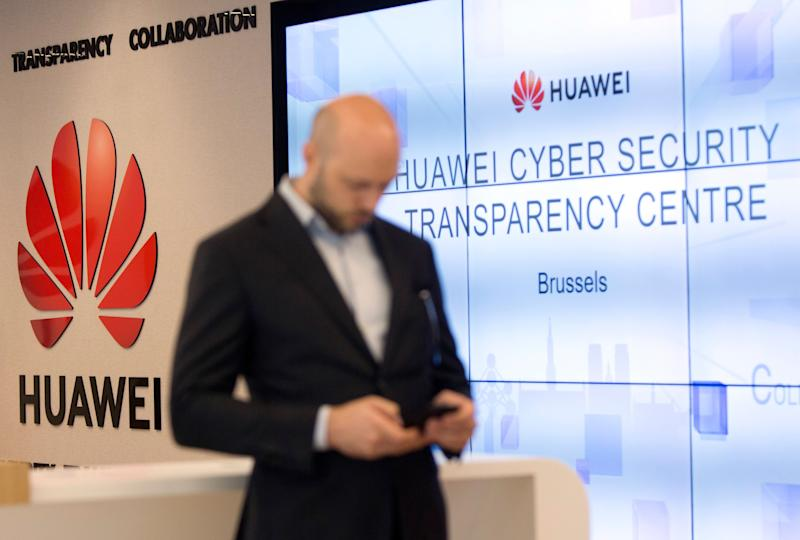 The Huawei logo during a DigitALL lunch talk in Brussels in May. (Photo: Virginia Mayo/AP)