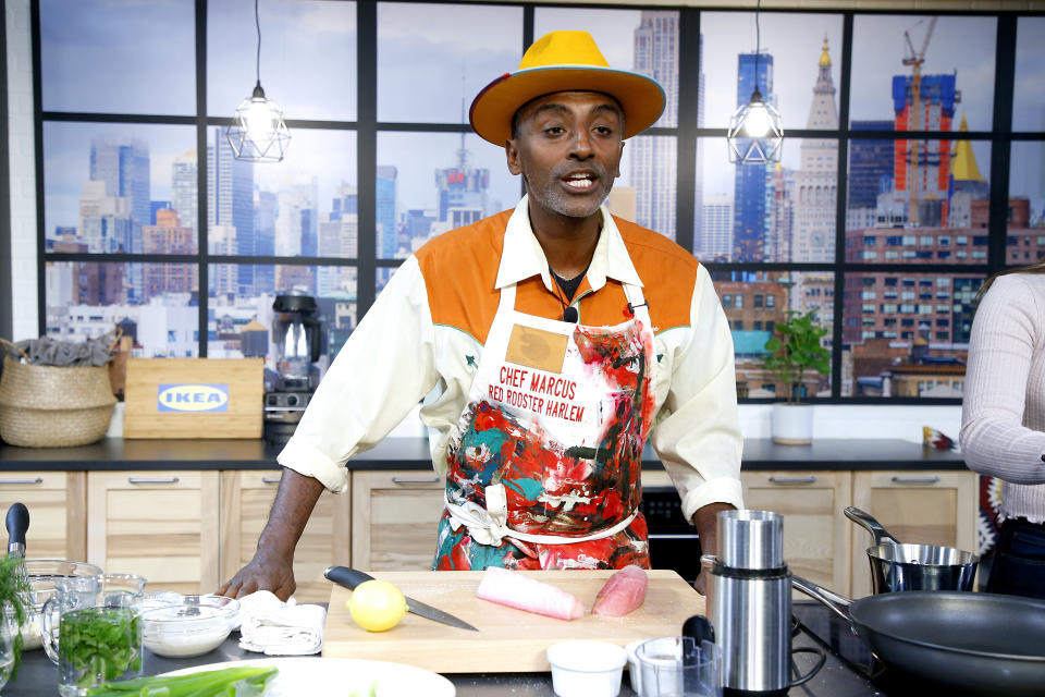 NEW YORK, NEW YORK - OCTOBER 13: Marcus Samuelsson onstage during the Grand Tasting presented by ShopRite featuring Culinary Demonstrations at The IKEA Kitchen presented by Capital One at Pier 94 on October 13, 2019 in New York City. (Photo by John Lamparski/Getty Images for NYCWFF)