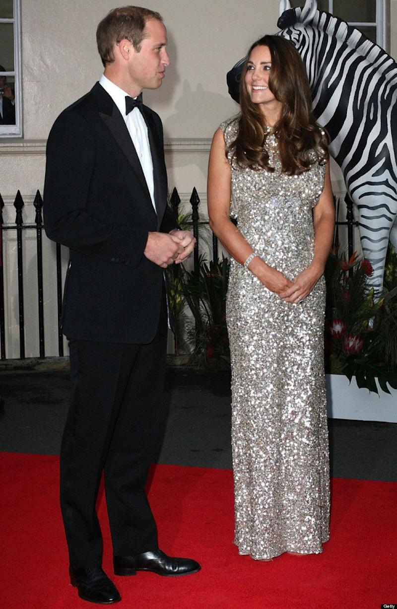 The Duchess sparkled in a silver Jenny Packham gown at the Tusk Foundation Gala in September 2013.