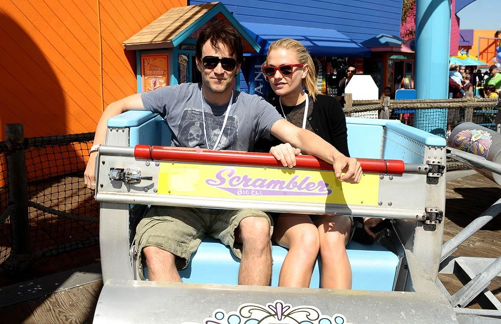 "Speaking of sweethearts, ""True Blood"" co-stars Stephen Moyer and Anna Paquin coupled up for a spin on the Scrambler. Later, the real-life loves spent some QT with Moyer's daughter Lilac. Stefanie Keenan/<a href=""http://www.gettyimages.com/"" target=""new"">GettyImages.com</a> - March 14, 2010"