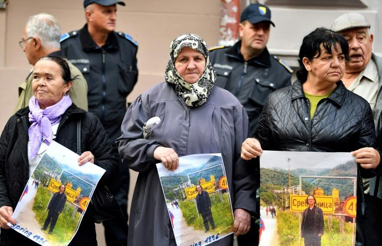 Women from Srebrenica and Bosnian members of associations of survivors of the war in Bosnia protest the awarding of the Nobel Prize for Literature to Austrian author Peter Handke