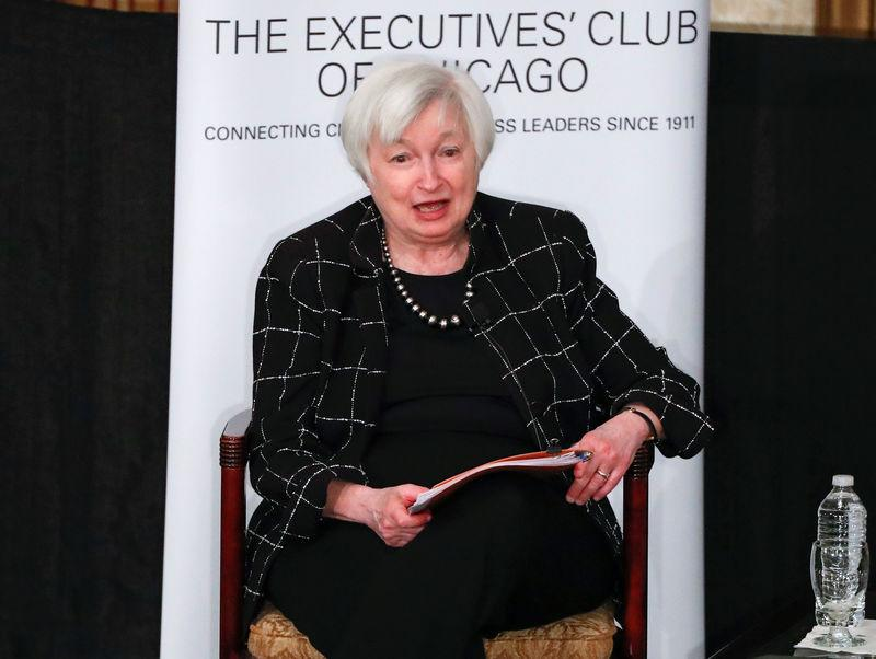 Federal Reserve Chair Janet Yellen addresses the Executives Club of Chicago in Chicago