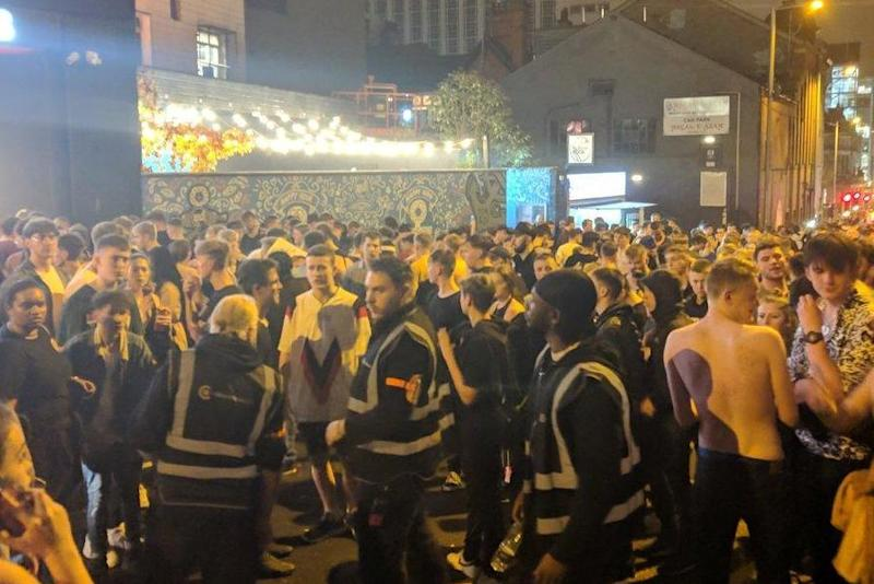Hundreds of revellers pictured in the streets outside Rock City after the evacuation (@JamesBStevenson/Twitter)