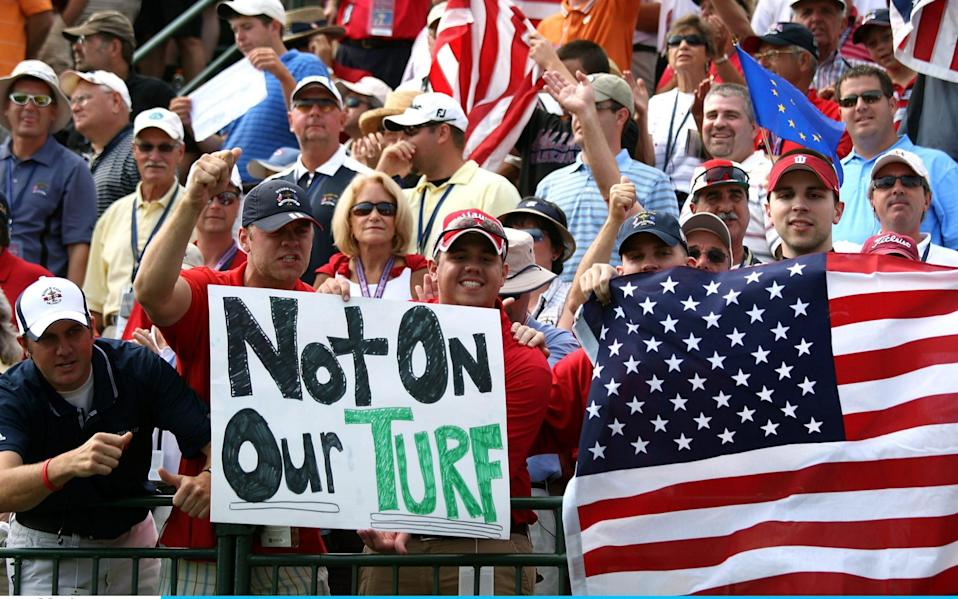 USA teams supporter wait on the first tee during the singles matches on the final day of the 2008 Ryder Cup at Valhalla Golf Club on September 21, 2008 in Louisville, Kentucky. - David Cannon/Getty Images