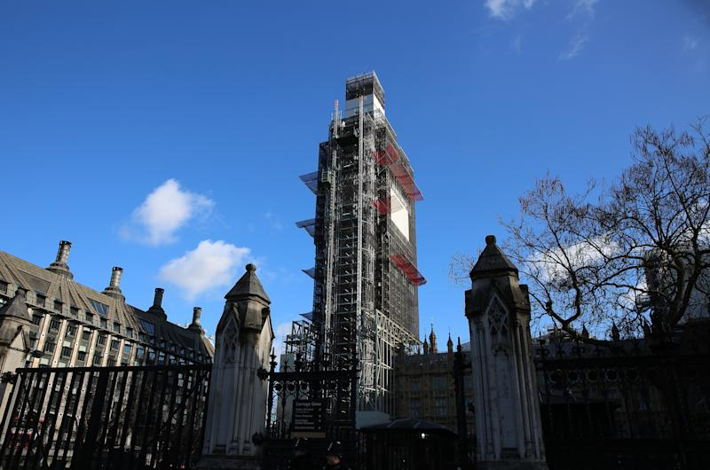 A general view of building work going through at the Big Ben tower at the Palace of Westminster, London. Picture dated: Tuesday January 22, 2019.