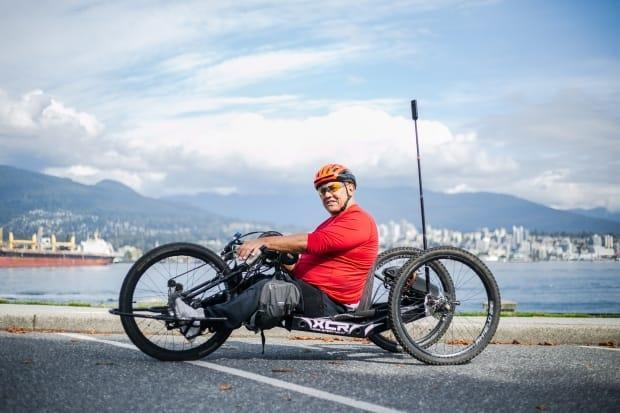 Richard Peter, who competed at five Paralympic Games with Canada's wheelchair basketball team, mapped out the trail at the Stanley Park seawall in Vancouver.