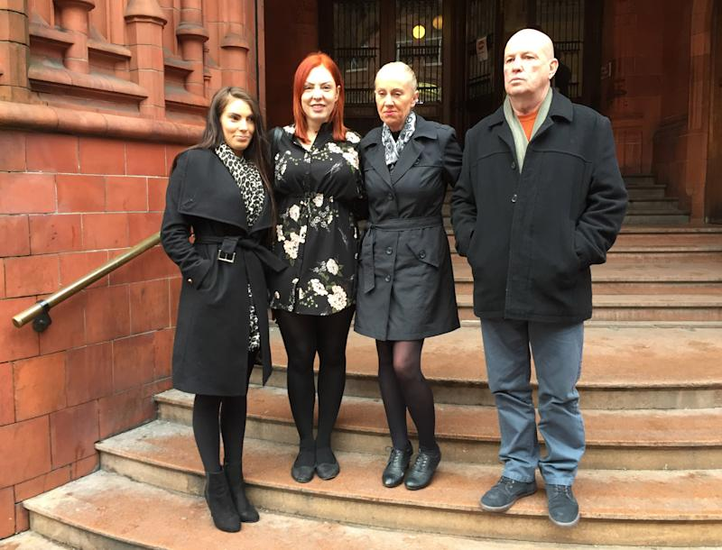 Dog owners (left to right) April Lock, Rebecca Parsons, and Liz and Jim Egan, speaking outside Birmingham Magistrates' Court after the woman who lost their dogs, Louise Lawford, was banned from keeping the animals for five years.