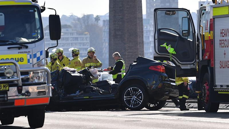 The wreckage of a multi car accident on the Sydney Harbour Bridge