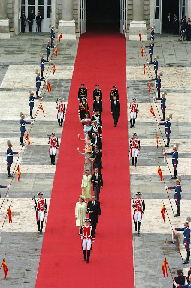 Guests arrived in grand fashion for the nuptials of Spain's crown prince to the former journalist.