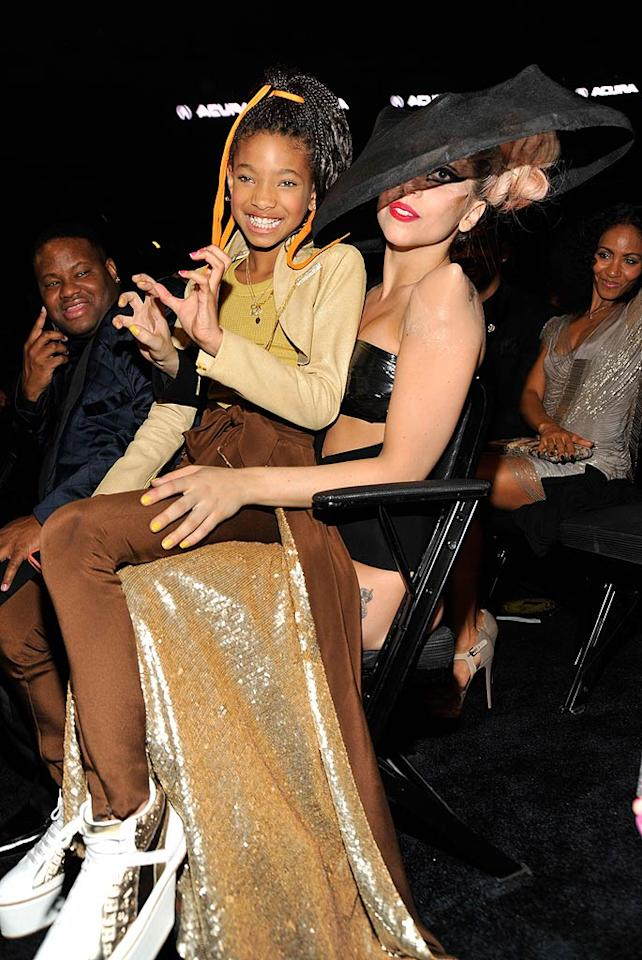 "Willow Smith scored a front row seat at 2011's Grammy Awards courtesy of her new BFF Lady Gaga. Turns out the pint-size singer may have influenced the pop queen's Grammy night performance. During an appearance on ""The Tonight Show With Jay Leno"" that week, Gaga revealed,  ""I actually know Will and I love Willow, and I actually told her that she inspired me to whip my hair back and forth on stage."" (02/13/2011)"
